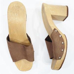 Vintage Wood Platform 80s Sandals 8